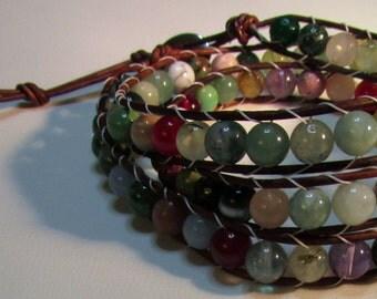 Leather Bracelets with Mix Gemstone