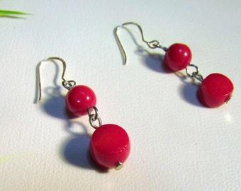 Earrings Sterling Silver Coral