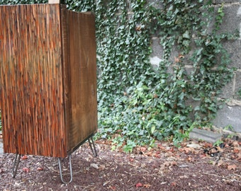 Reclaimed Shipping Crate Cabinet with Copper Front