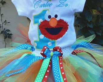 Elmo Birthday 1st  Outfit Elmo Birthday Outfit Elmo Birthday Shirt Elmo 1st Birthday Shirt Sesame Street Birthday Shirt Elmo Tutu Outfit