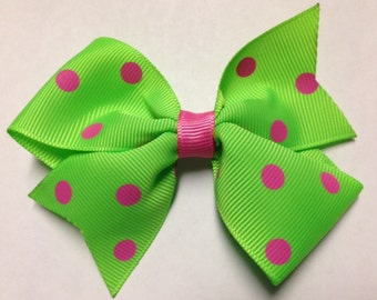 """3.5"""" lime green polka dot hot pink hair bow birthday party ott stacked baby toddler hairbow clip Halloween over the top preppy Strawberry"""
