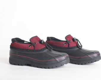 Vintage Size 9 Women's Black and Maroon Rubber Duck Shoes