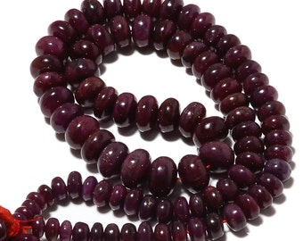 Natural African Ruby Rondelles, Ruby Beads, Smooth Rondelles, Not Enhanced, 6mm To 9mm, 7 Inch Half Strand, SKU-A54