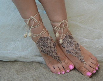 Cappuccino barefoot sandals Crochet beach sandals  beach sandles Crochet sandals Lace sandals Beach Shoes beach barefoot sandles