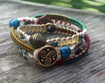 Micromacrame leather bracelets- Three wrap bracelete