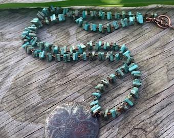 Boho necklace-turquoise beaded necklace