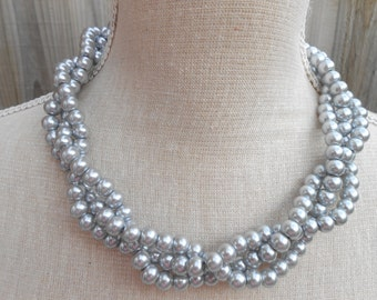 Silver triple strand pearl necklace, great for wedding, jewelry party, wedding jewelry, anniversary gift, birthday gift, Christmas