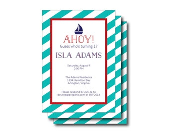 Printable Digital Nautical Sailboat Invitation, Sign (Personalized Sailor Party, Sailboat Invitation, Sailor Invite, Sailing, Little Sailor)