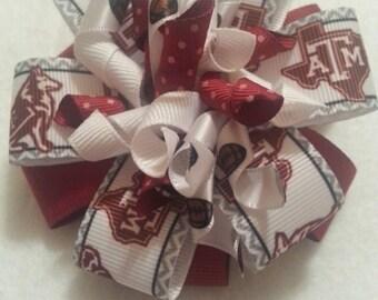 Texas A&M Aggies girls hair bow