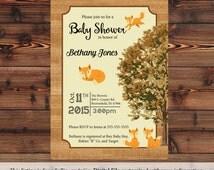 Wild Life Little Fox Baby Shower Invitation Digital or Printed (Item 30)
