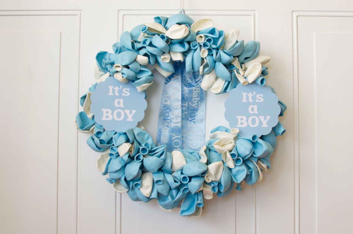 baby shower decor party wreath 18 blue baby by dillybeandesign