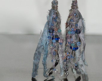 Silk, Crystal, Linen, Sterling Silver, Earrings, glass beads
