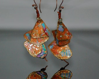 Hand-painted, copper, small paintings, dangle earring