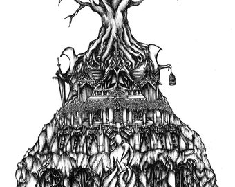 Temple Ink Drawing. Ink Illustration, Lovecraft, A4 Drawing, Pen and ink art, Fine art print, Black and white art, Original drawing, Surreal