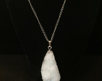 White Crystal Cluster Necklace