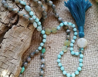 Serenity + Transformation Mala, Yoga Jewelry,  Boho Long Layering Necklace, 108 Hand-knotted beads, labradorite, lemon quartz,  chalcedony