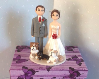 Cake Topper - polymer clay custom made figures - Bride and groom with dogs - Everlasting wedding keepsake.
