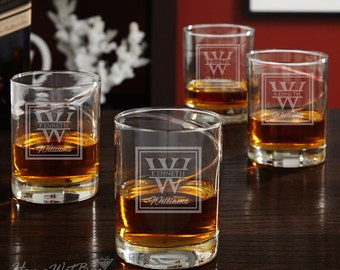 Vintage Islay Refined Whiskey Glasses - Set of 4 - Oakhill Design with Single Intial and Name - Custom Laser Engraved Hand-Blown Glasses