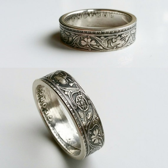 half rupee silver coin ring georgian sterling silver ring