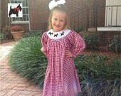 Smocked Scottie Dog, Long Sleeve Bishop Dress