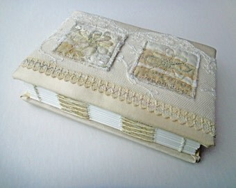 Unique Embroidered Hand-bound Book with Nottingham Lace and Silk Applique