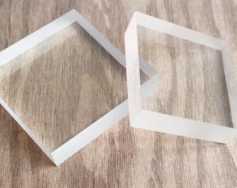Clear plexiglass block temporary stamp mount