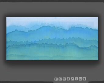 Original Watercolor landscape on Canvas, abstract landscape, watercolor landscape, blue landscape, small painting, original painting