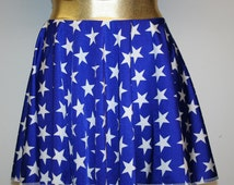 Wonder Woman Inspired Circle Skirt Gold or Red Stripe Waistband Mid Thigh or Mini Skirt Cosplay Comic Con Costume Custom Dance Rave