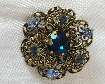 Czech crystal filigree brooch