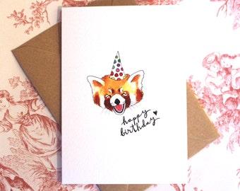 Red Panda Birthday Card