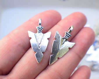 6 Arrowhead charms | silver arrow charms | arrowhead pendants | silver arrow charms | archery charms | archery pendants | SC753