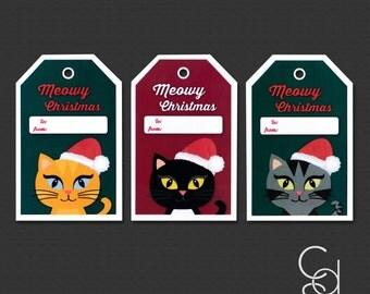 Meowy Christmas Gift Tags- Set of 10