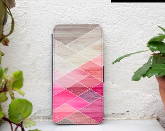 iphone 5c wallet case, geometric iphone 5S wallet case, wood print iphone SE wallet, pink white wallet case iphone 5c, iphone 6 wallet case
