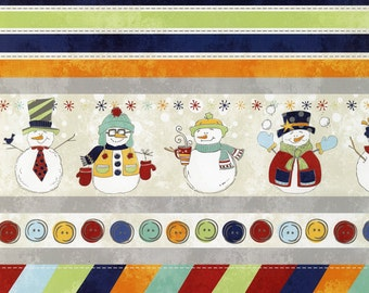 ADORNit Snowman Ticker Tape Fabric - 00535