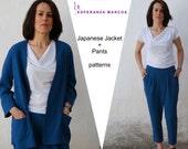 Sizes xs, s, m, l .pdf sewing pattern. Japanese Jacket + pants digital pattern. SEWING PATTERNS DESIGNS