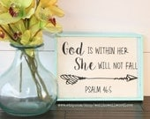 God is within her, she will not fall sign | Psalm 46:5  | wood scripture sign | rustic wood sign | handpainted sign | scripture wall art