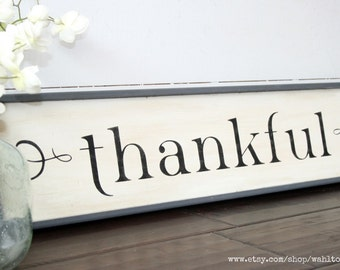 Thankful sign, wood thankful sign, wooden thankful wall art, gallery wall, housewarming gift, fixerupper style sign, farmhouse thankful sign