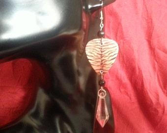 Tiger print guitar pic earrings with teardrop bead