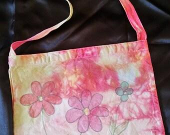 Colorful tie dyed, flower design, messenger bag
