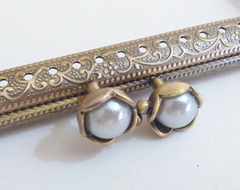 1 bronze metal purse frame with sewing holes 12,5 cm, supplies, coin purse frame, white pearl decoration
