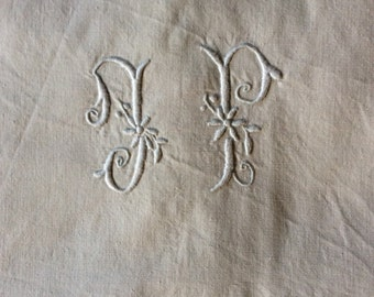 Vintage French Monogrammed Metis Sheet
