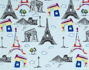 Pepe  In Paris Eiffel Tower In Blue  Riley Blake Cotton Quilt Fabrics     BFab