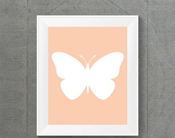 White Butterfly Apricot Background, Butterfly Home Decor, Apricot Nursery Room Decor, Apricot Home Decor, Apricot Baby Room Decor