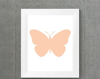 Apricot Butterfly Print, Butterfly Nursery Decor, Apricot Home Decor, Apricot Nursery Decor, Butterfly Baby Room Decor, Apricot Nursery Art