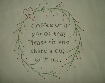 Primitive Stitchery~Coffee Or A Pot Of Tea....