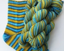 Hand dyed self striping sock yarn - Deathwater Island