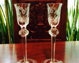 Vintage Crystal American Brilliant Glass Cordial Glass Set of Two/Crystal Wine/Liqueurs Glass/Pair of  Cut Crystal Candleholders