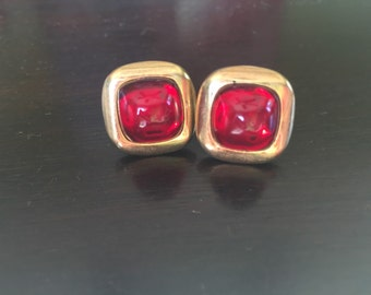 Vintage Cuff Links with Goldtone and Deep Red Cabochons