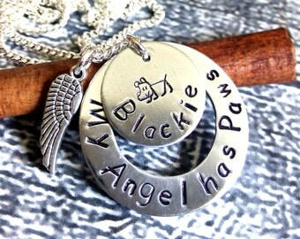 Personalized Dog Memorial Necklace,Dog Lover Necklace,Memorial Dog Necklace,Remembrance Necklace,In Memory of Jewelry,Dog Angel Necklace