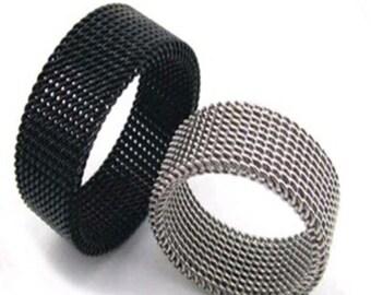 Silver/Titanium/Steel Men's Soft Ring